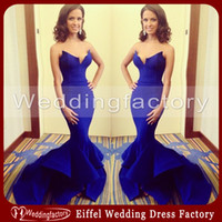 Wholesale Royal Blue Satin Trumpet Evening Dresses Unique Mermaid Wedding Dress Sweetheart Strapless Prom Gowns