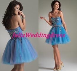 Wholesale 2014 Custom Knee length Strapless Chiffon Fashion Blue Cocktail homecoming sweet Dress Jasz Couture