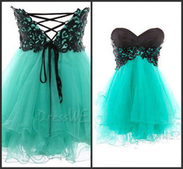 Wholesale Actual Image Lace Applique Black And Green Sexy Homecoming Dresses Sweetheart Neckline Ruffle Cocktail Dress Short Mini Homecoming Gowns