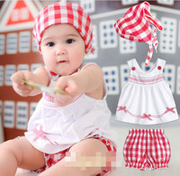 Wholesale Baby Girls Red White Grid Summer Outfit Children Clothing Infant Hood Sleeveless Chevron Bowknot Tank Top Leisure Pnats Set D2206