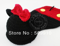 Boy Summer Crochet Hats Free shipping Handmade Crochet Baby Mickey hat and cover Newborn photography props Children Costume Set