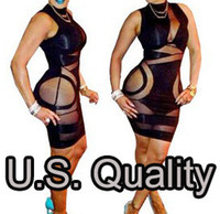 Casual Dresses Round Mini new Womens Celebrity Midi Bodycon dress, Ladies patchwork Hollow out sexy party bandage dress, sleeveless black bodysuit Dress