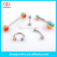 Wholesale Body Piercing Gay Pride Body Jewelry Tongue Barbell Belly Ring Lip Piercing Eyebrow Ring Horseshoe Mixed Style of