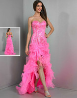Reference Images Sweetheart Organza 2014 Pink Sexy Wow Prom Dresses Hi Lo Cheap Beaded Organza Backless Backless Girls Graduation Dresses Homecoming Queen Dress Gowns for Party