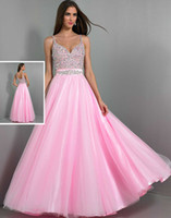 Reference Images Spaghetti Straps Crepe High Quality 2014 Pink Sexy Long Prom Dresses Wow Spaghetti Beaded Crystal Backless Tulle A-Line Evening Gowns Sheer Formal Dresses Pageant