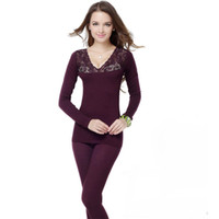 Women Suits Modal Winter Women V-Neck Seamless Body Thermal Underwear Set Lace Tight body Body Shaper Clothing