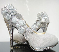 Wholesale New Women s Waterproof Flowers Silver Gold Rhinestone beaded Dazzling High Heels Shoes Wedding Bridal shoes