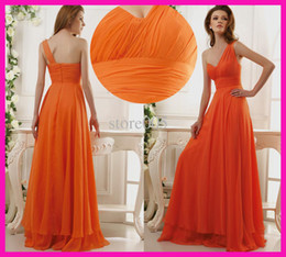 Wholesale Concise One shoulder A line Pleated Chiffon Bridesmaid Dresses