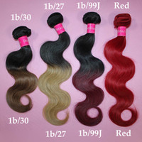 Wholesale Virgin brazilian hair body wave ombre hair color b b b j Red human weft hair weave extensions brazillian free by DHL