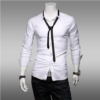 Men Cotton XY6 Wholesale - Men's Slim Direct Spring trade new men's long sleeve shirt men's lapel silk frock top quality hot sell