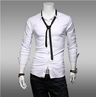 Men Cotton XY6 Wholesale - Men's Slim Direct Spring trade new men's long sleeve shirt men's lapel silk frock top quality hot sell