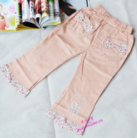 Wholesale Spring girl pants with high quality children cropped jeans with elastic waist casual pants baby Denim baby pants trouses jeans