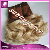Wholesale High grade two tone ombre color spring wave Cambodian Hair extension