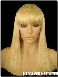 Fashion Cleopatra style medium length blonde  gold color hair wig National Women Hot selling straight hair Wigs Free Shipping