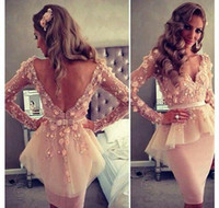 Reference Images V-Neck Satin Custom Made Sexy Baby Pink V Dusty Rose Lace Long sleeves Backless Evening Dress Knee Length Peplum Cocktail Dress BRI465