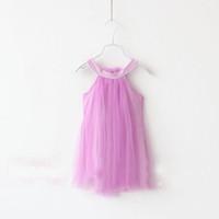 Cheap Korean Fashion baby girl Solid Tulle cotton sundresses vest sling Dress slip dress princess dress kids summer dress