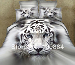 Wholesale please tell me the styleNew pattern d oil painting white tiger bedding TC pc bed linen without filler D oil white tiger comforter sets