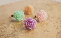 Wholesale Spring Fashion Lucite Rose Flower Rings Vintage Costume Rings for Women jz019