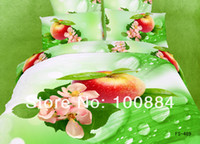Adult Twill 100% Cotton please tell me the style!New 500TC 3D Oil Painting 3d bed sheets queen size,4pc bedding set without the filler, oil painting fruit apple bed