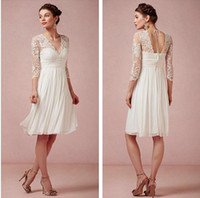 Wholesale Sheer Beach Lace V neck Ivory Long Sleeve Knee Length Short Bridal Wedding Dresses Gowns Cheap