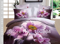 Wholesale please tell me the style Oneline hot comforter queen bedroom sets Cotton PC bedding set without the filler queen size purple floral duvet c
