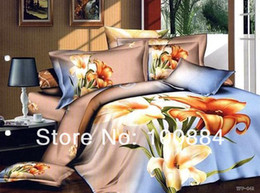 Wholesale please tell me the style New Spring orange queen comforter set TC cotton Fresh design floral bedding size queen full EMS Free Shippi