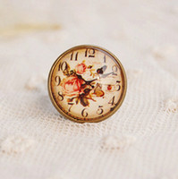Wholesale Spring Vintage Simulated Clock Design Adjustable Cameo Rings Costume Jewelry Rings jz013