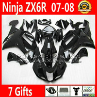 Wholesale 7 Gifts Fairings for Kawasaki ZX6R Ninja fairing kit ZX636 ZX6R all glossy black custom ZX R motobike UH9C
