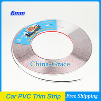 Cheap 15M 6mm Width Car PVC Trim Strip Interior Strip Impact Grille Exterior Side Silver Styling Bumper Decoration Chrome Adhesive