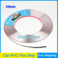 Cheap 15M 10mm Width Car PVC Trim Strip Interior Strip Impact Grille Exterior Side Silver Styling Bumper Decoration Chrome Adhesive