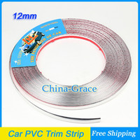 Cheap 15M 12mm Width Car PVC Trim Strip Interior Strip Impact Grille Exterior Side Silver Molding Bumper Decoration Chrome Adhesive