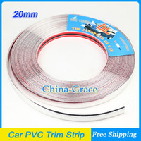 Cheap 15M 20mm Width Car PVC Trim Strip Interior Strip Impact Grille Exterior Side Silver Molding Bumper Decoration Chrome Adhesive
