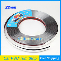 Cheap 15M 22mm Width Car PVC Trim Strip Outdoor Strip Impact Grille Exterior Side Silver Molding Bumper Decoration Chrome Adhesive