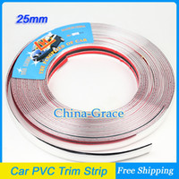 Cheap 15M 25mm Width Car PVC Trim Strip Outdoor Strip Impact Grille Exterior Side Silver Styling Bumper Decoration Chrome Adhesive
