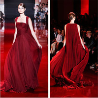 Reference Images Strapless Chiffon 2014 Elie Saab Wine Red Evening Dresses Ruched Bodice Greek Goddess Stylies Women Formal Party Gowns Chiffon Custom Made Court Train Hot New