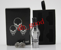 Wholesale Wax Glass Globe Tank Set Dry Herb Vaporizer Clearomizer Atomizer with Retail Box Two Extra Coil Heads for E Cig eGo Electronic Cigarette