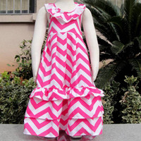 Wholesale girl summer chevron bohemian dress toddler baby ruffle cotton beach wear dress children backless halter dress kid hot pink white maxi dres