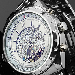 New Stainless Steel Automatic Mechanical Skeleton Watch Mens Free Shipping