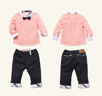 Wholesale Boys Summer 3pieces sets shirt+ trousers+ tie baby s...