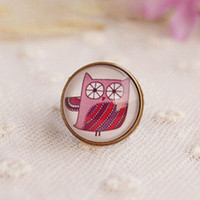 Wholesale New Bizarre Owl Cameo Ring Vintage Jewelry Bronze Filigree Ring jz017