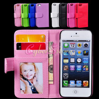 For Apple iPhone Leather  For iPhone 5 5S Deluxe Wallet Flip Leather Credit Card Holder Case Cover Photoframe Slots