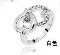Cluster Rings Men's Party sterling Silver fashion charm girl gift Austrian CZ Crystal pretty Heart to heart love ring jewelry 50pcs lot free shipping