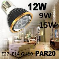 Wholesale High Power CREE Led Lamp PAR20 W W W Bright Bulb E27 E14 GU10 Led Light AC V LED Spotlight LED Bulb Light Downlight