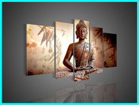 More Panel Oil Painting Abstract Large 5 Panel Abstract Buddha Paintings Canvas Southeast Asian Style Feng Shui Wall Art Chinese Brown Home Decor L0035
