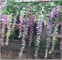 Wholesale 100 CM Length Artificial Flower Silk Wisteria Vine for Party Wedding Decoration