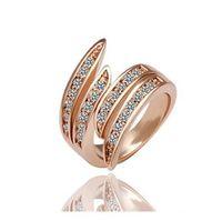 Wholesale Kpop Angel Wings Rings Rhinestone Rose Gold Wedding Rings Fashion Costume Rings Jewelry r009