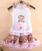 Wholesale Hot Sale Summer New Children Girls Tutu Pettiskirt Set Baby Pink Leopard Princess TUTU Dress Skirt amp Cute Cake Tops Set Kids Clothes Melee
