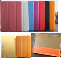 Wholesale slim folding stand folio leather case cover skin shell with back transparent PC plastic case for Galaxy Note Edition P600