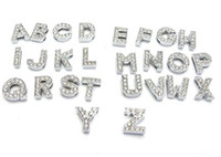 Wholesale 8mm mm A Z Alphabet Numbers Zinc Alloy Slider Letter Charms Symbol Full Rhinestones Mixed