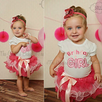Wholesale 10sets New Summer Birthday Girl Children PC Clothing Set Baby Girl White T Shirt Girls Pink TUTU Ruffle Bow Cake Skirt Melee